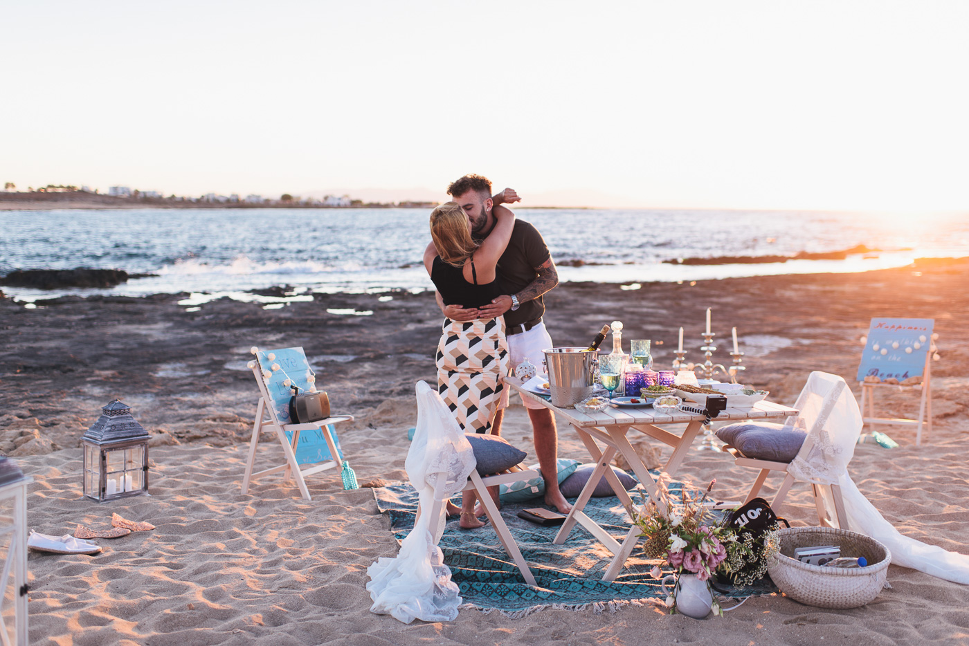 Wedding proposal on the beach in Chania Crete Greece