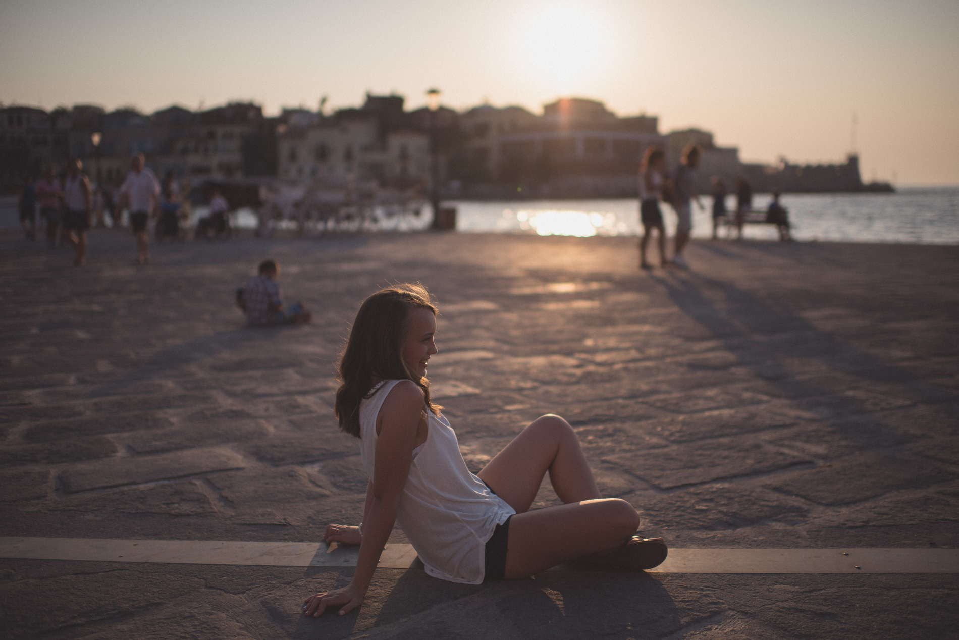Sunset senior portrait in Chania Crete