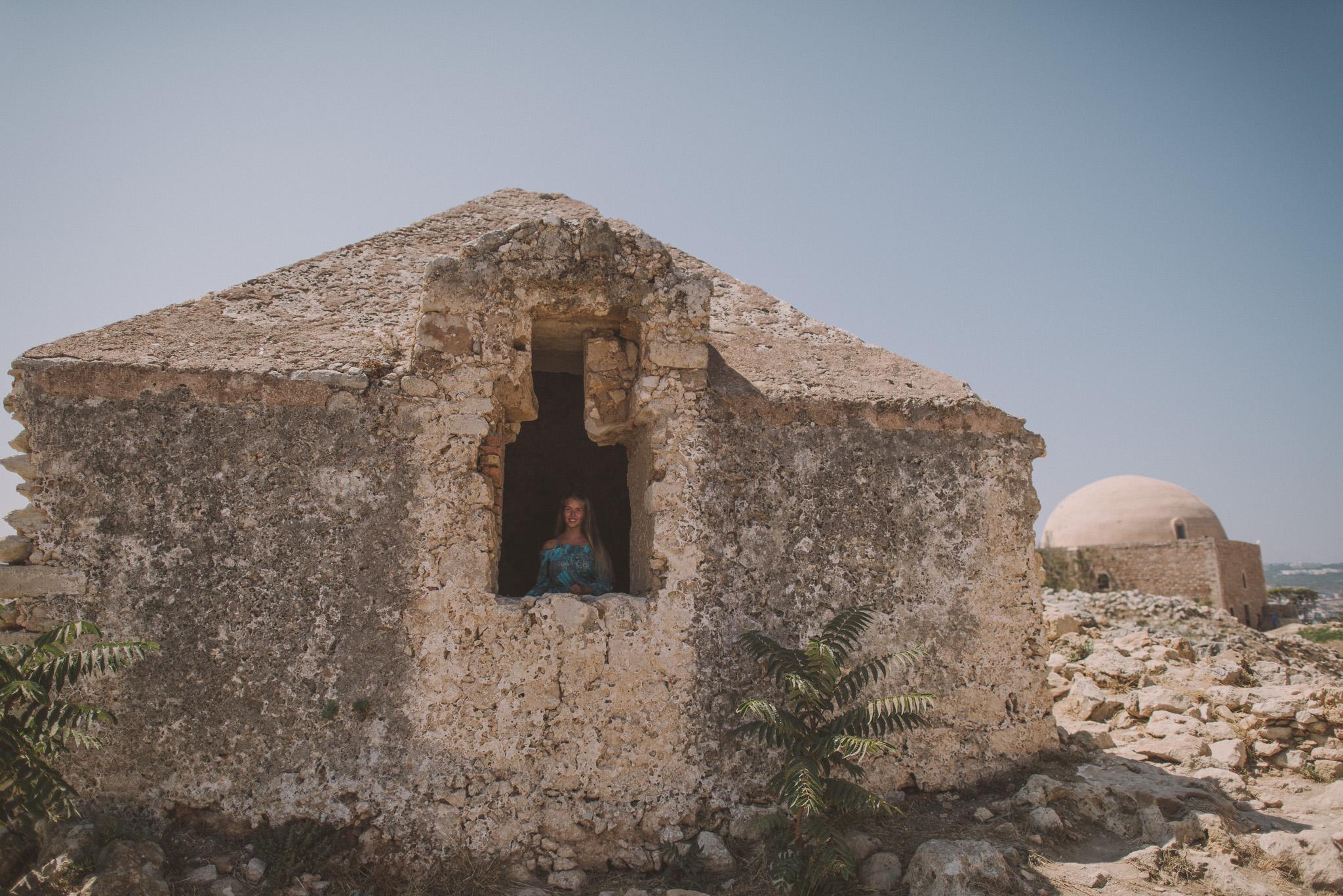 Girl in Fortezza castle Rethymno Crete Greece