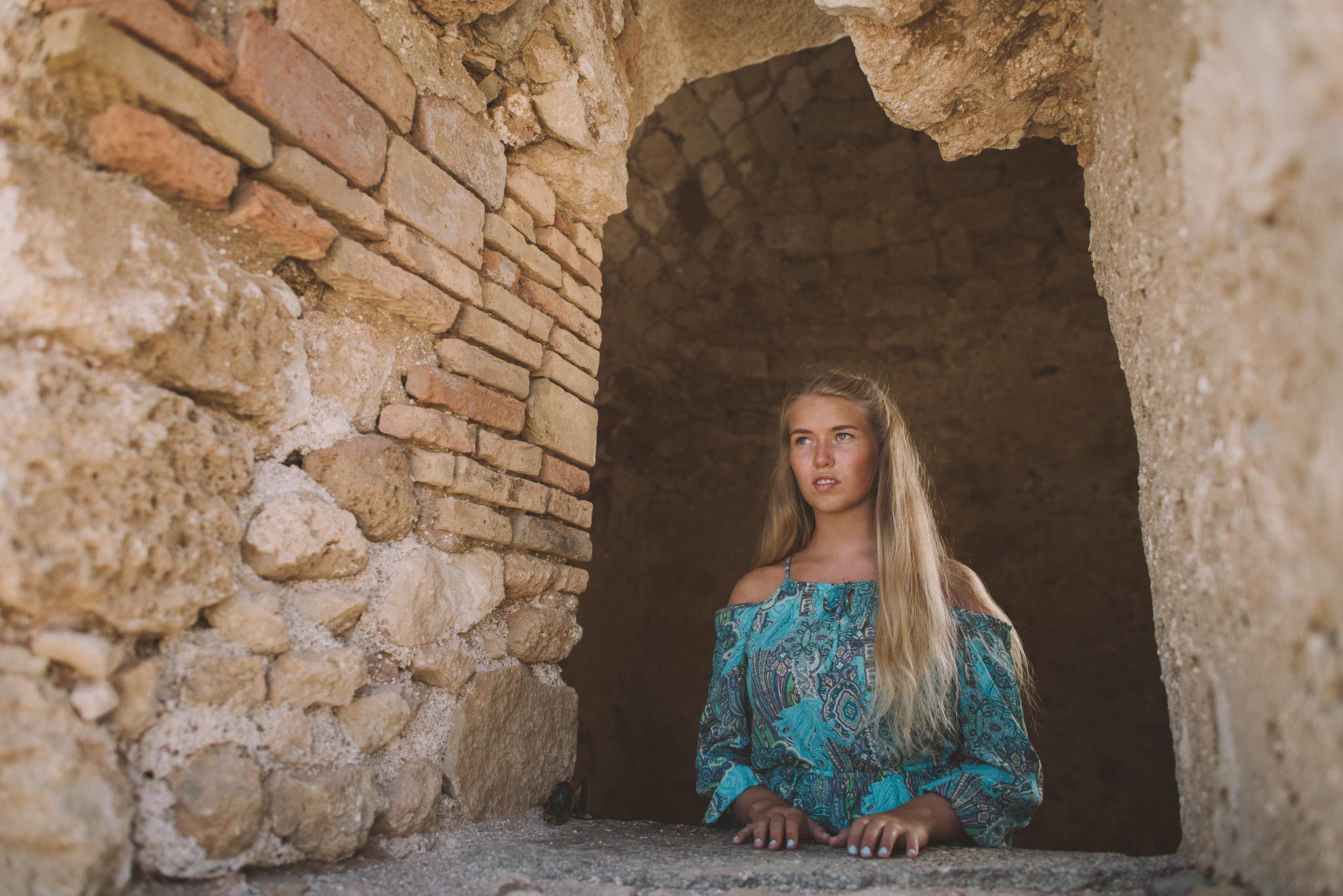 Woman portrait in Fortezza castle Rethymno Crete Greece