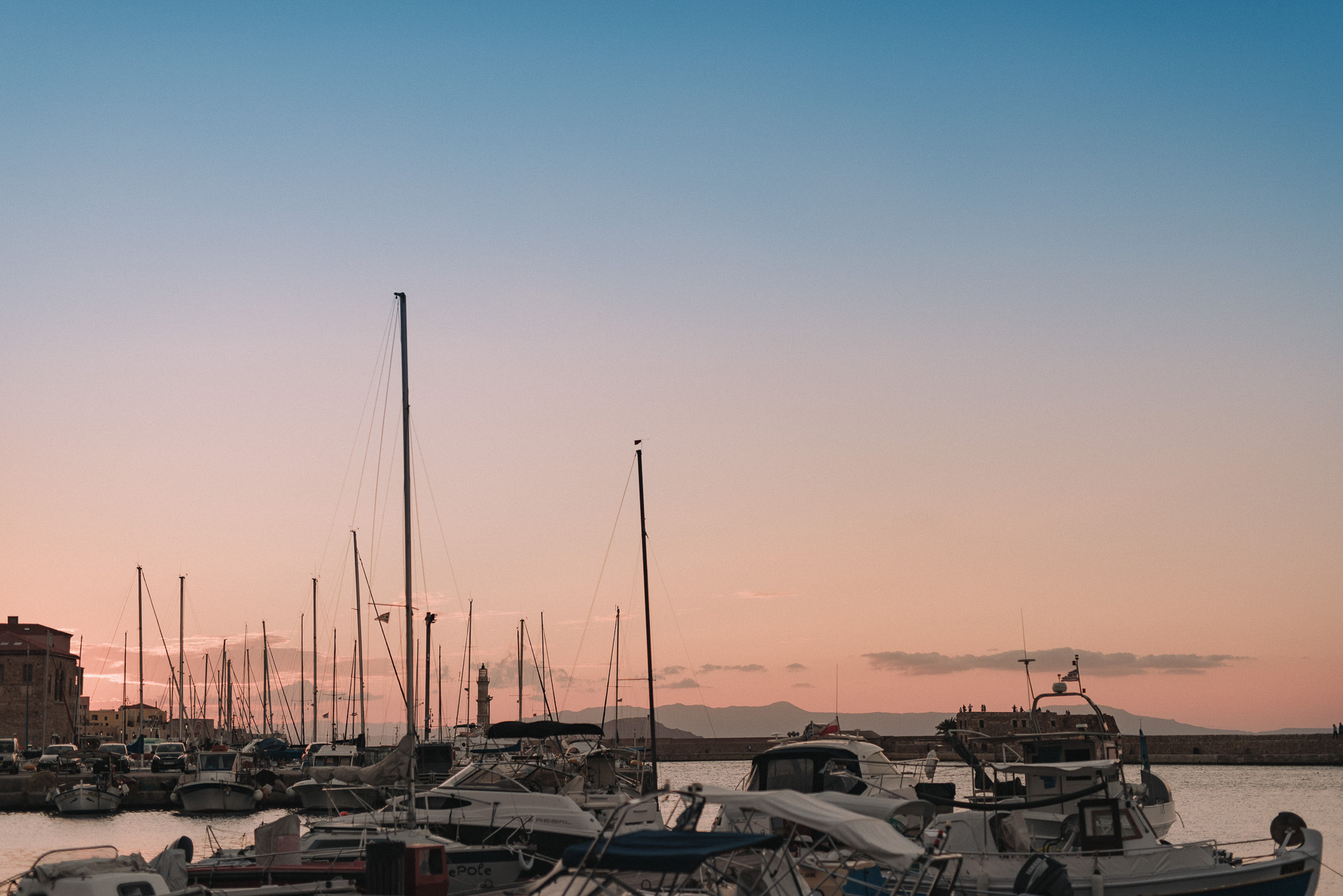 Chania Crete Greece harbor sunset