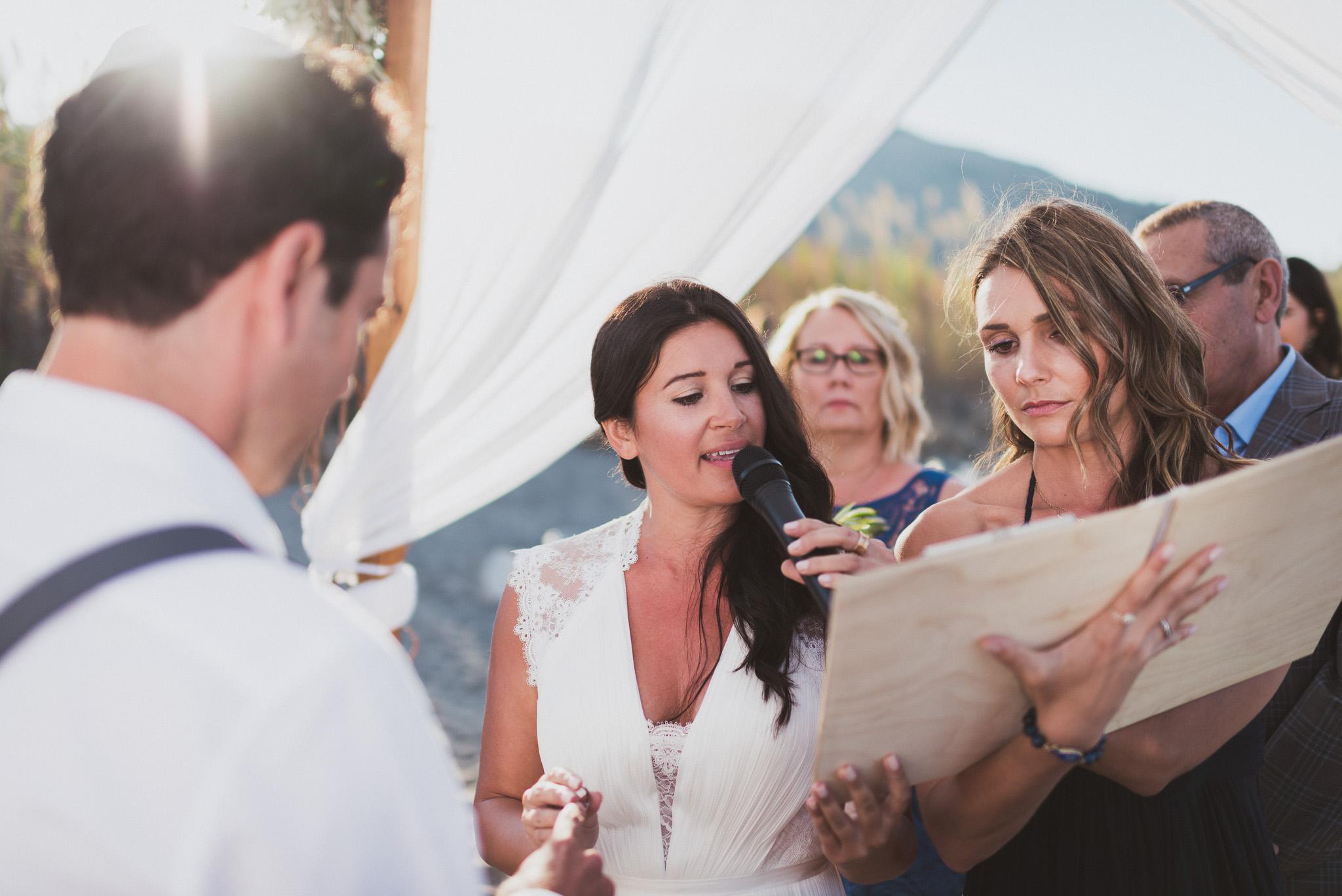 Bride during beach wedding