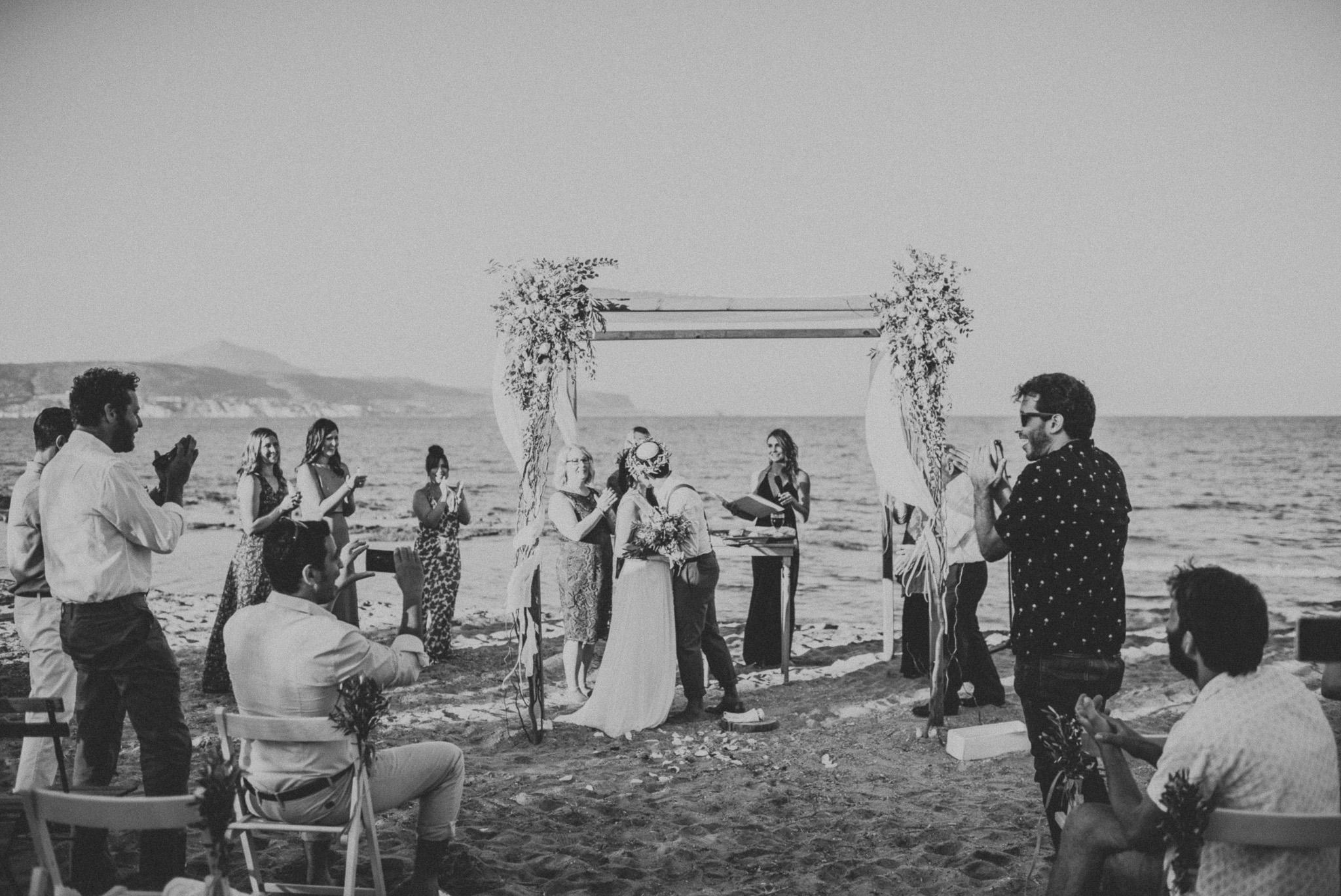 Jewish Greek wedding on the beach in Chania Crete Greece