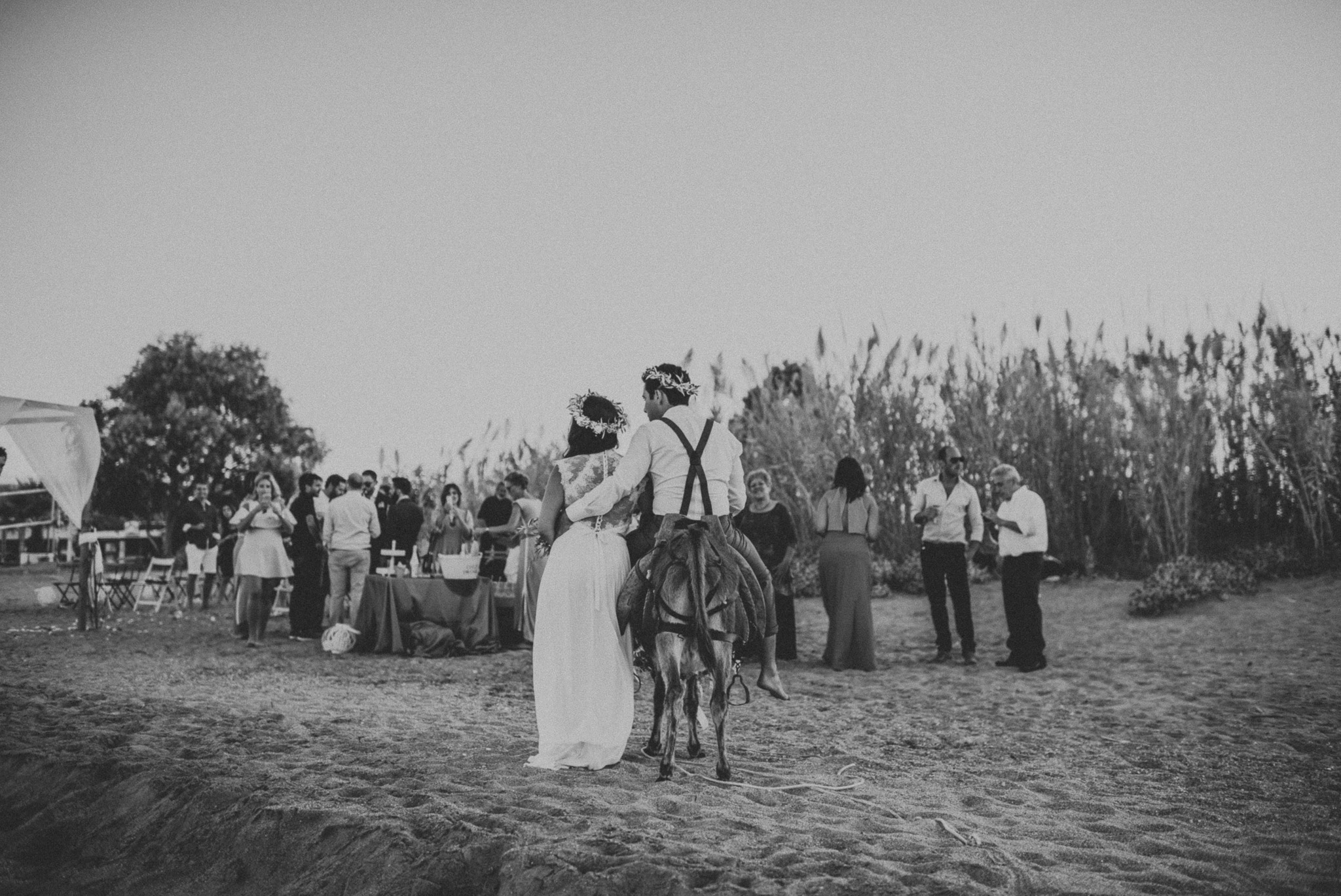 Bridal couple with donkey in Greece