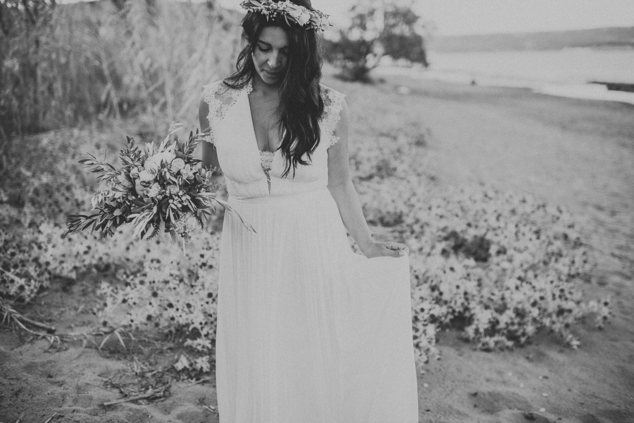 Bride on the beach in Greece